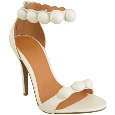 67757ea5cf47 Fashion Thirsty Womens Strappy Stiletto High Heel Sandals Embellished Cuff Peep  Toe Shoe Size 10