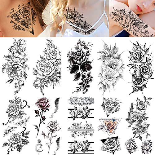 VANTATY 10 Sheets 3D Sexy Rose Flower Temporary Tattoos illustration Sticker For Women Girls Water Transfer Tattoo Body Arm Painting Fake Jewels Feather Leaf Designs Pomey Tatoos Lily (The Best Female Tattoos)