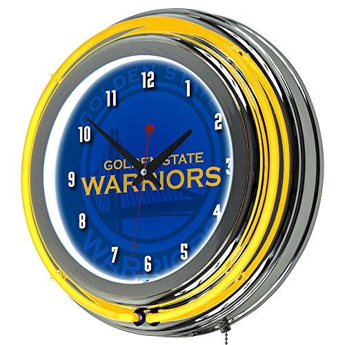 Trademark Gameroom NBA1400-GSW2 NBA Chrome Double Rung Neon Clock - Fade - Golden State Warriors (Pool State Golden Warriors)