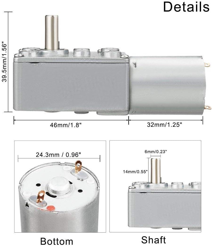 AZSSMUK DC 12V Reduction Electric Motor High Torque Worm Geared Motor with Gear Box for Windows,Door Opener,Miniature Winch