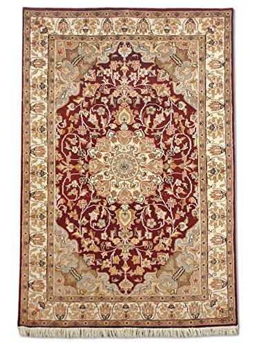 Traditional Persian Handmade Kashan Rug, Wool/Art. Silk (Highlights), Burgundy, 4' x 6' (ft)