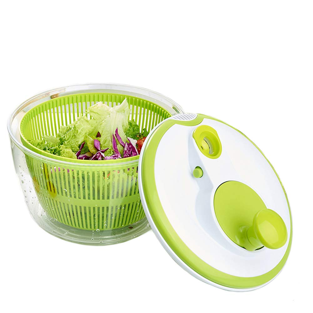 Salad Spinner Household Vegetables Dryer Drying Machine Veggie Fruits Dehydrator Colander Washer Fruit Wash Clean Multi-use Basket Manual Storage(Green)