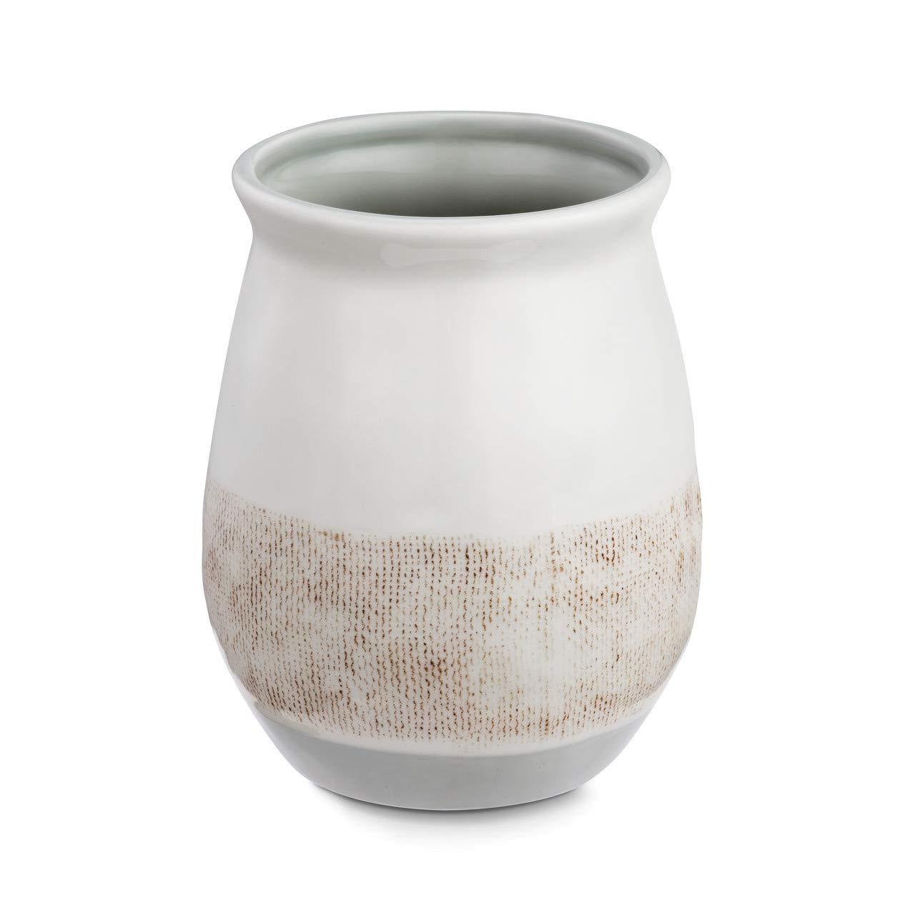 Linen Kitchen Blessed Glossy White 7 x 5 Ceramic Stoneware Kitchen Utensil Crock by DEMDACO