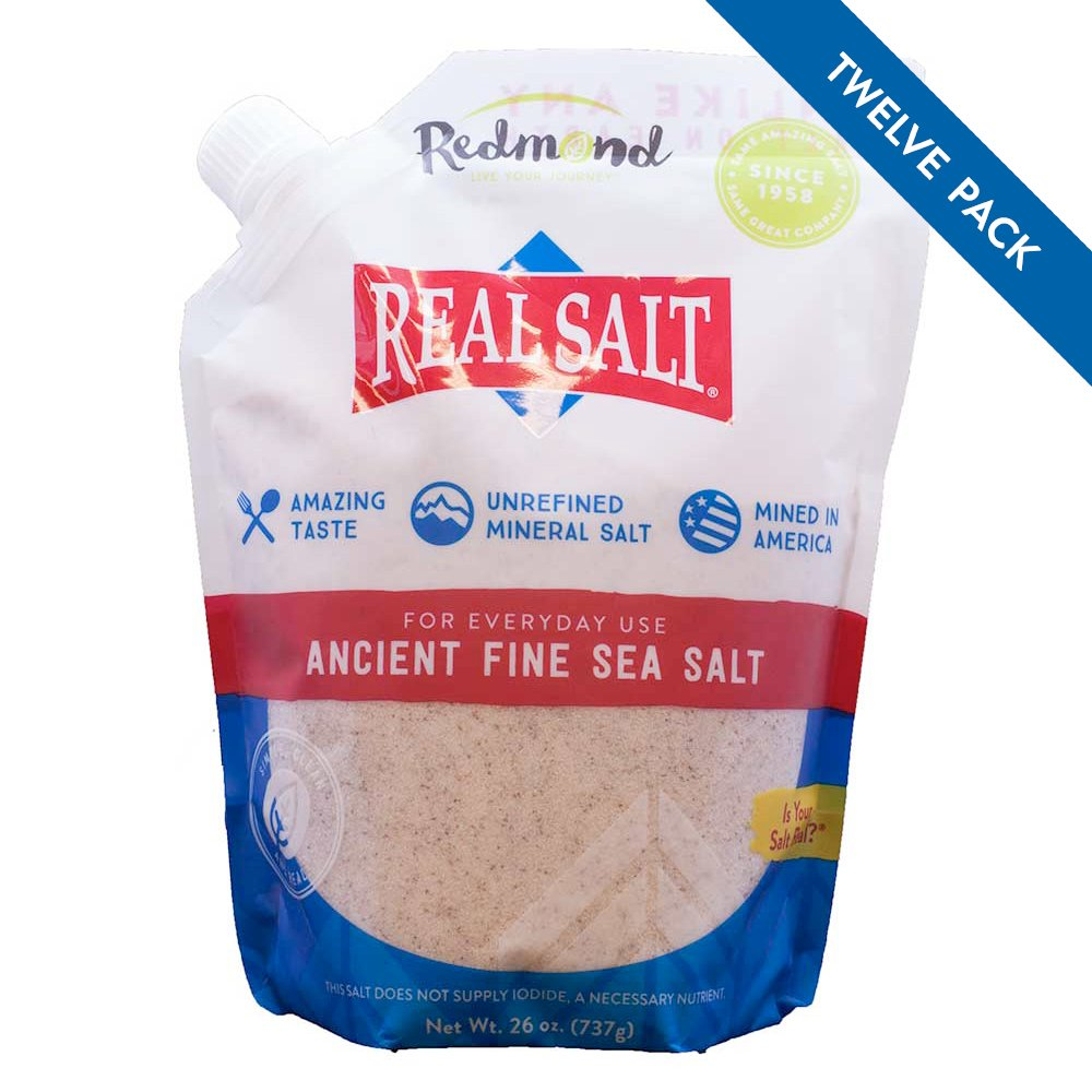 Redmond Real Salt - Ancient Fine Sea Salt, Unrefined Mineral Salt, 26 Ounce Pouch (12 Pack)