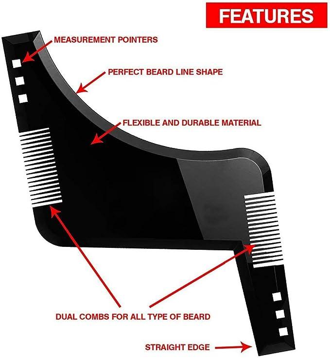 Mouchao Barba a Doppio Taglio Styling Template Pettinatura Righello Beard Shape Nero