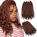 "Silike 14"" Loose End Box Braid Crochet Hair(24 Roots/Piece,3 Pieces) Thin Wave End 3S Crochet Braids Synthetic Box Braiding Hair Extension (Ca-30)"