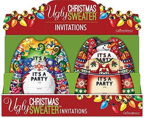 Crownjewlz Ugly Christmas Sweater Invitation Set, 36 Piece ()