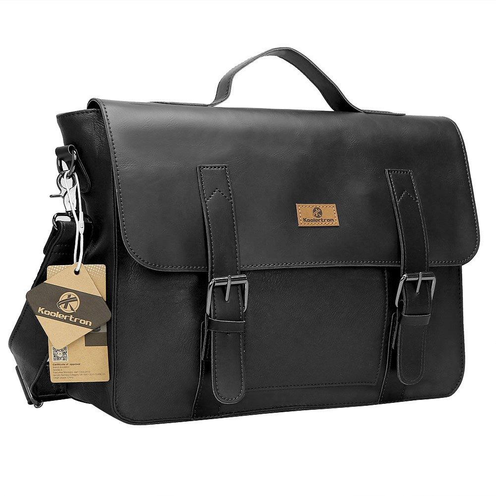 Koolertron sac message sac à main sac bandoulière sac cartable en simili cuir pour Homme (noir)