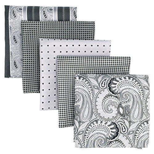 Shlax&Wing 5 Pieces Assorted Mens Pocket Square Handkerchiefs (Designer Pocket)