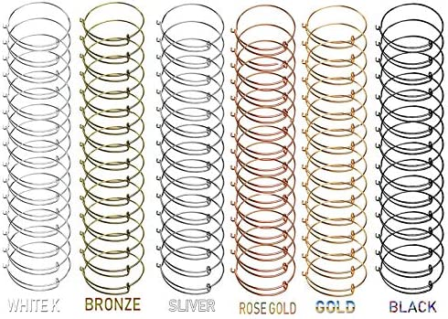 Tamicy 90 Pcs (6 colours) Expandable Bangle Charms Bracelets - Adjustable Wire Bracelets, Stainless Steel Blank Bangles for DIY Jewelry Making (Silver, Gold, Rose Gold, White Okay Black Antique Bronze)