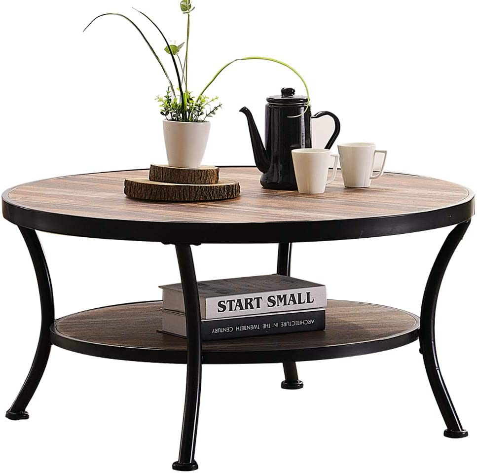- Amazon.com: O&K Furniture Rustic Round Coffee Table For Living