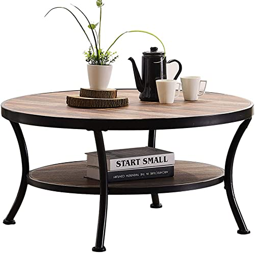 O K Furniture Rustic Round Coffee Table