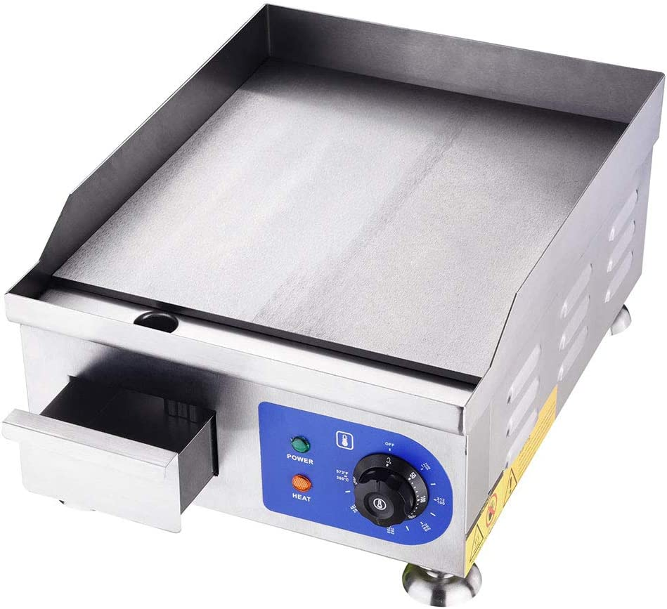 Yescom 1500W 14 Electric Countertop Griddle Stainless steel Adjustable Temp Control Commercial Restaurant Grill