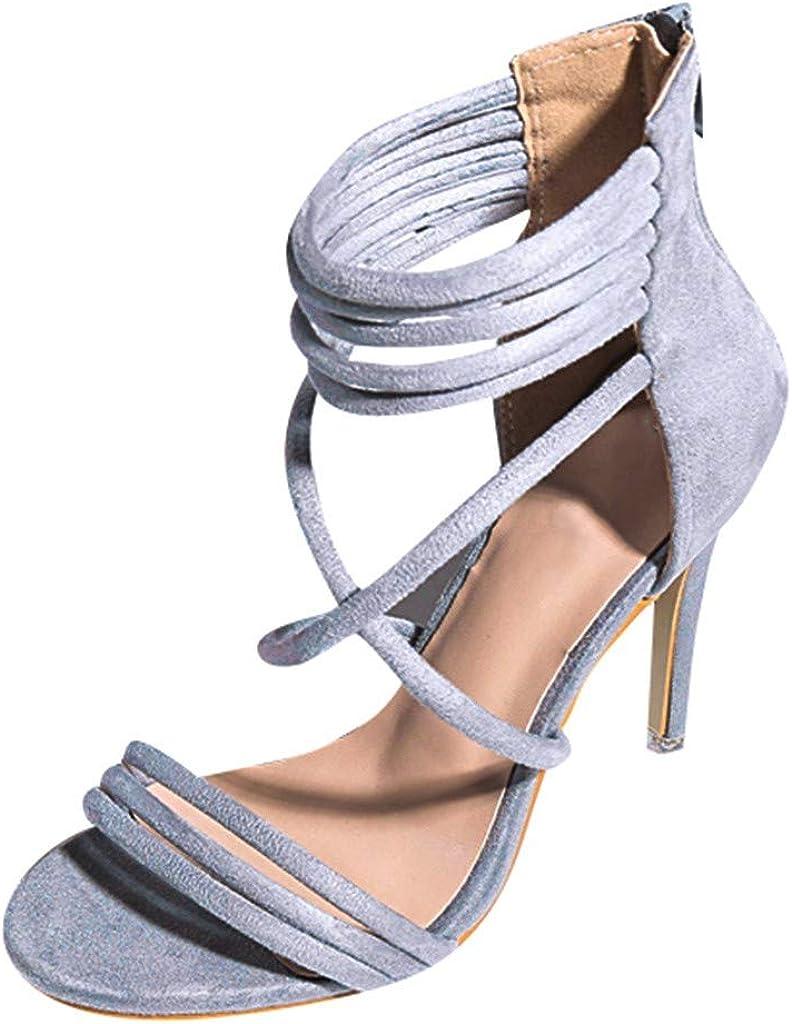 Veodhekai Womens High Heel Shoes Zipper Open Toe Ankle Straps Hollow Shoes Party Wedding Roman Sandals