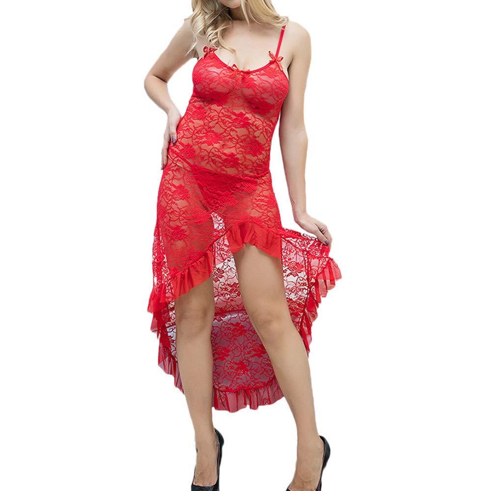 Women's Sexy Lingerie Hollowed Lace Temptation Solid Sleepwear Underwear Long Dress One-Piece Sling Nightwear (Red)