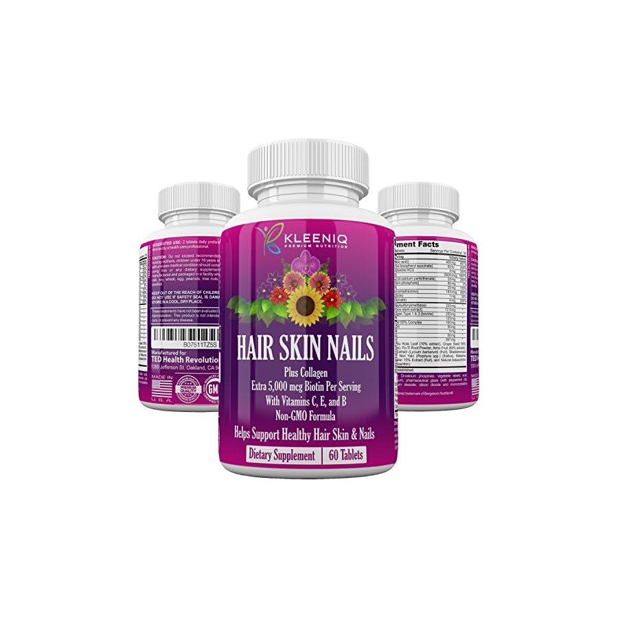 Hair Skin & Nails Supplement, KLEENIQ™ with Biotin 5000 mcg, Hydrolyzed Collagen Type 1 &3, Multi Vitamins, Calcium, Zinc & More, Non GMO Formula, Dietary Supplement for Men & Women