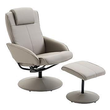 IDIMEX Fauteuil de relaxation CHARLY avec repose-pieds pouf siège pivotant  dossier inclinable assise rembourrée confortable ... 32210406af0a