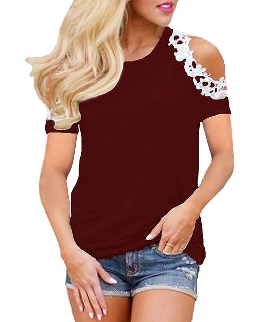 StyleDome Mujer Camiseta Elegante Verano Hombros Descubiertos Blusa Mangas Cortas Encaje Cuello Redondo Fiesta Noche Top
