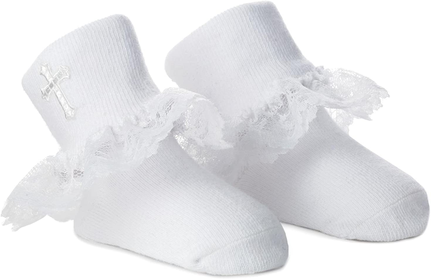 Hallmark Embroidered Cross With Ruffles Baby Socks 0-12 Months