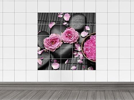 Piastrelle adesivo piastrelle foto rosa con rose da spiaggia con
