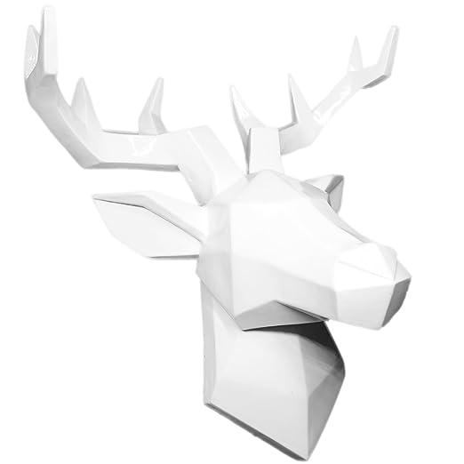 Hansmeier Cabeza de Ciervo Escultura de la Pared Decoración Mural Cabeza de Animal Diseño Apstracto y Moderno - Blanco