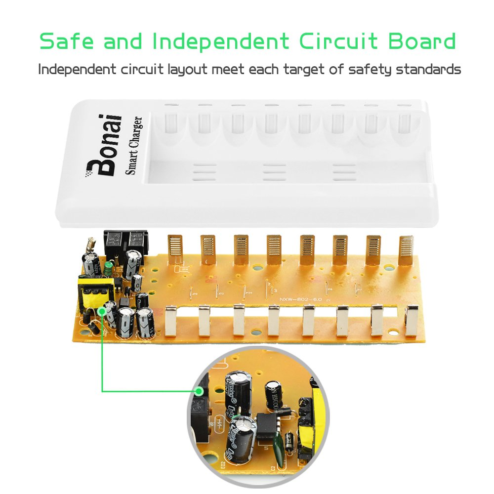 Bonai 8 Bay Rechargeable Battery Charger For Aa Aaa Ni How To Make A Nimh Nicd Circuit Homemade Mh Cd Batteries With Leds Home Audio Theater
