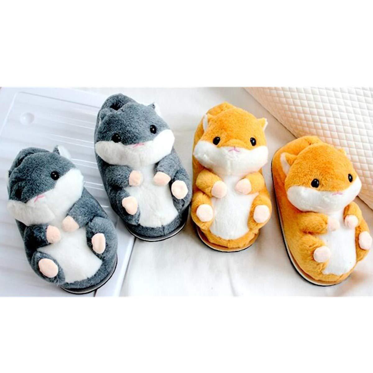Rabbit Supermarket Super Cute Hamster Cotton Slippers, Winter Home Warm Non-Slip Cotton Slippers