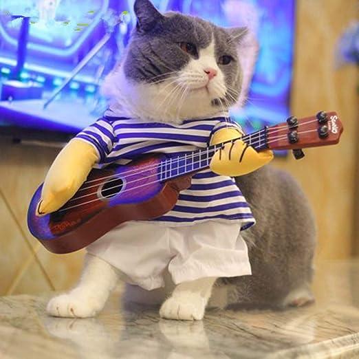 AILOVA Divertidos mascotas cambian lindos trajes de guitarra para perros gatos fresco disfraz de Halloween ropa de mascota abrigos de gato chaquetas ...