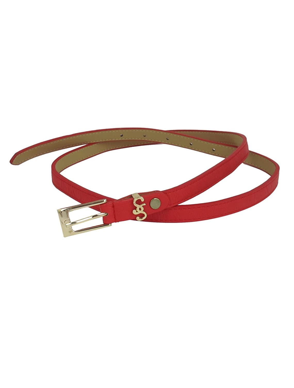 Metal Faux Leather Single Pin Buckle Perforated Slim Waist Belt Red