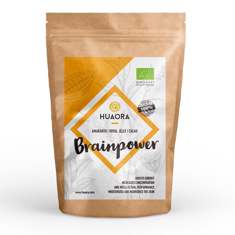 Brainpower de Huaora - Amarante, gelée royale, cacao - Super mélange organique - Aucun produits chimiques ou malsain - Sans gluten, sans soja, sans lactose (250 gr)