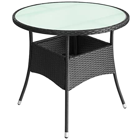 Festnight Poly Rattan Outdoor Round Table Glass Top Table Garden Patio  Furniture Set 60x74 Cm Black