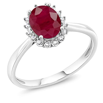 10k White Gold 1 60 Ct Oval Red Ruby Engagement Ring With Diamonds