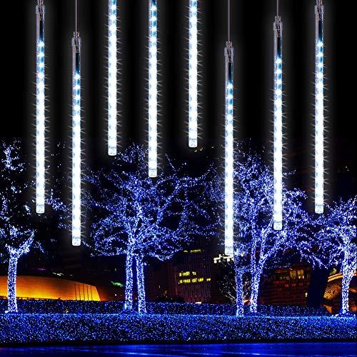 CrazyFire Meteor Light 11.8inch 8 Tube 256 LEDs Falling Rain Lights for Wedding Christmas New Year Party Tree Decoration (White)