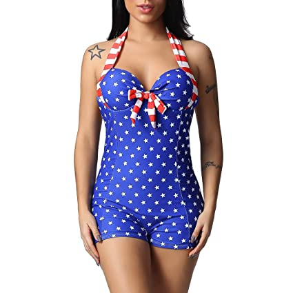 6d1b145234 Image Unavailable. Image not available for. Color: Women's One Piece Shorty Swimsuit  American Flag Monokini Bathing Suits Sexy USA Flag Halter Neck Backless
