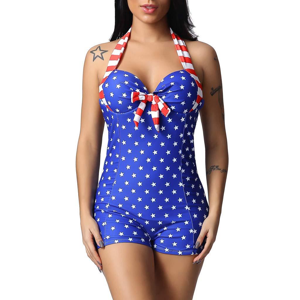 b673e727bbd FEDULK Womens Plus Size One Piece Swimsuit American Flag USA Swimwear  Patriotic 4th July Beachwear at Amazon Women's Clothing store: