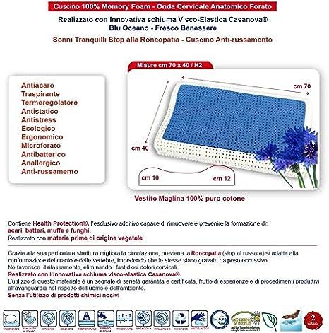 Almohada para Cama de Espuma viscoel/ástica Talla /única Color Blanco y Azul venixsoft