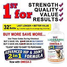 Best Hip and Joint Supplement for Dogs and Cats: Extra Strength Liquid Formula with Glucosamine, Chondroitin, Msm and Omega 3: Fast Arthritis Pain Relief and Renewed Mobility for Your Pet: 32oz
