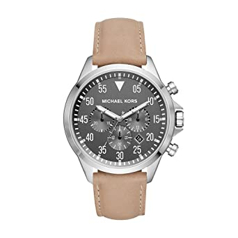 417406f52c65 Michael Kors Men's Gage Stainless Steel Quartz Leather Strap, Brown, 22  Casual Watch (