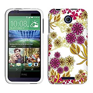 HTC Desire 510 Case, Snap On Cover by Trek Magenta Flowers and Yellow Vines on White Case