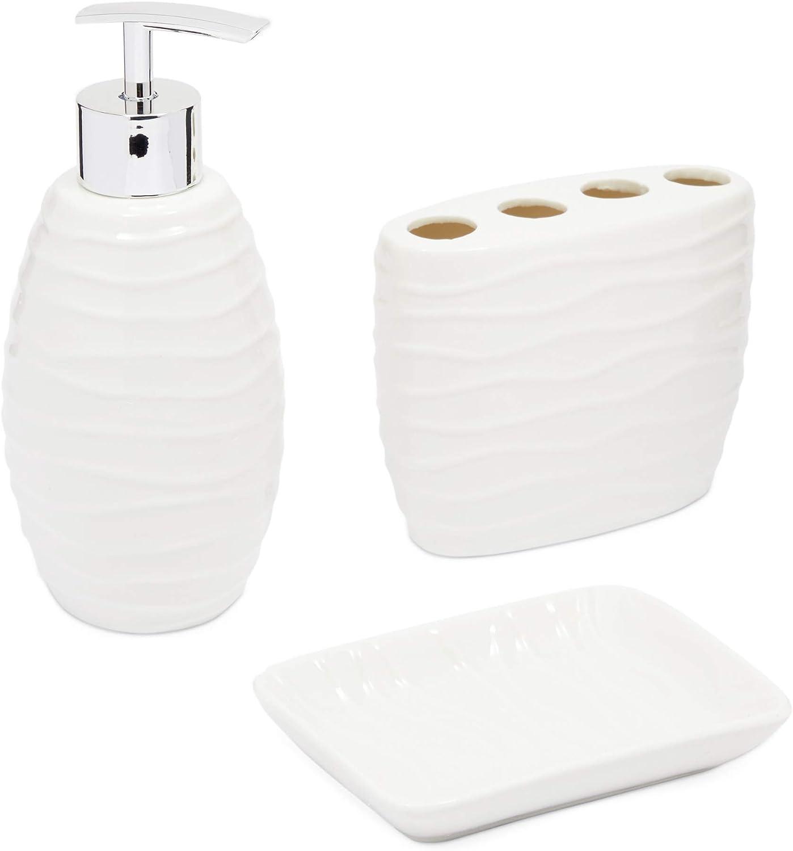 Juvale White Ceramic Bathroom Accessories (3 Piece Set)