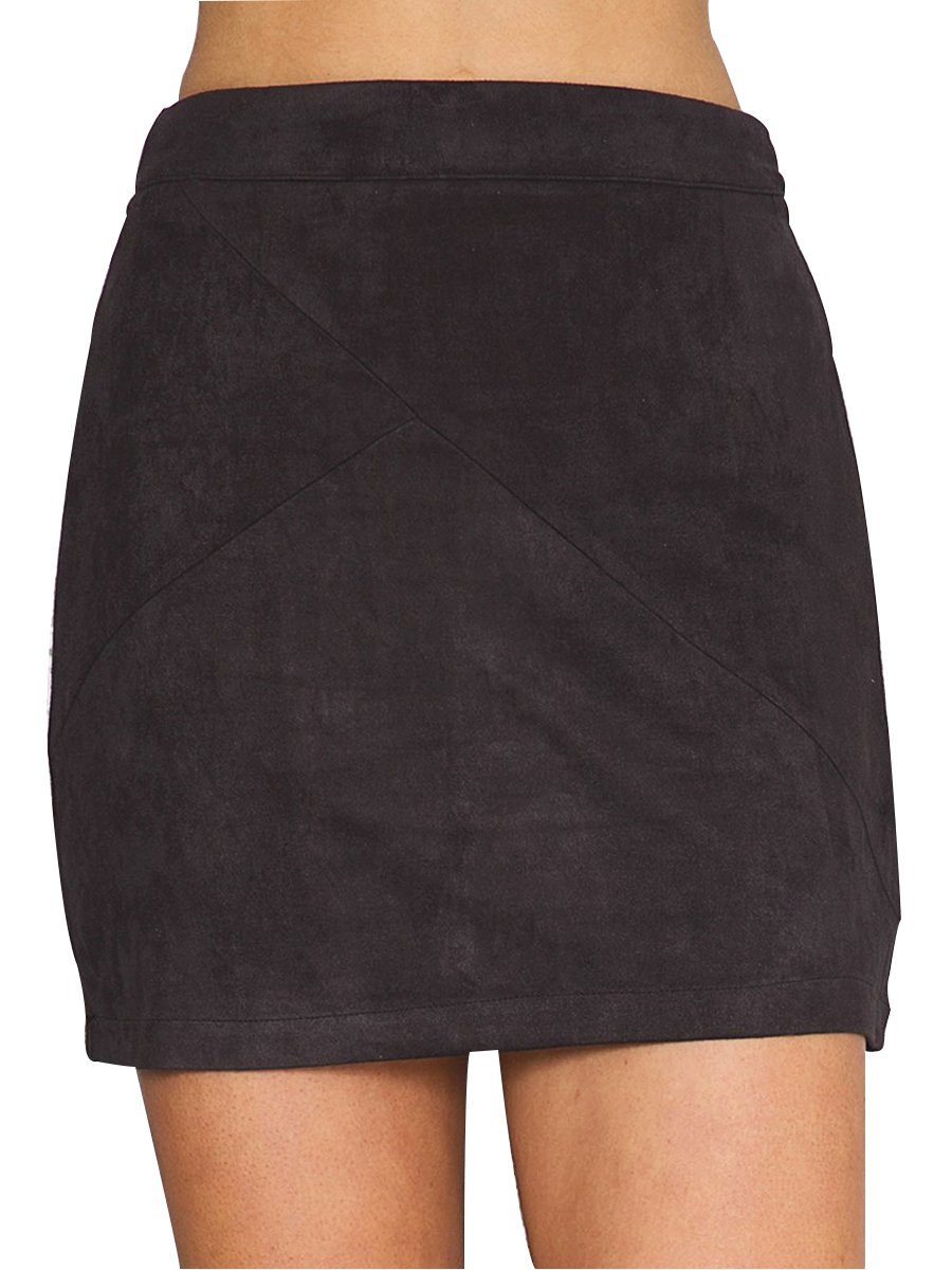 Simplee Apparel Women's High Waist Faux Suede Mini Short Bodycon Skirt Black,8/10 (L)