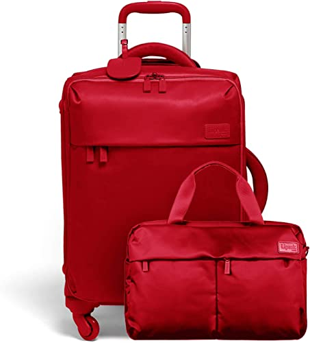 Lipault – Original Plume Spinner 55 20 Carry-On Suitcase and City Plume 24H Travel 2 Piece Luggage Set – Cherry Red