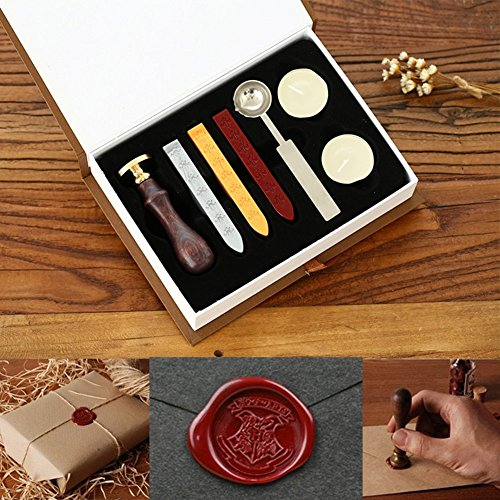 Powstro Stamp Seal Sealing Wax kit, Retro Harry Potter Hogwarts School Badge Classic Vintage Seal Wax Stamp Seal Maker Stick Gift Box Set (Seal Maker)