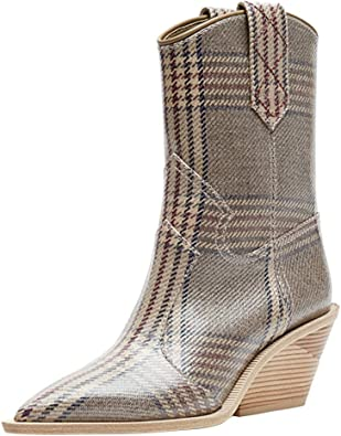 COLOV Women Boots Ankle Boots Round Toe Party Western Boots