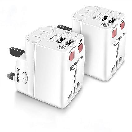 Keenstone 2PCS Adaptador Universal de Viaje, Adaptador de Enchufe Internacional con Dual USB Puertos para