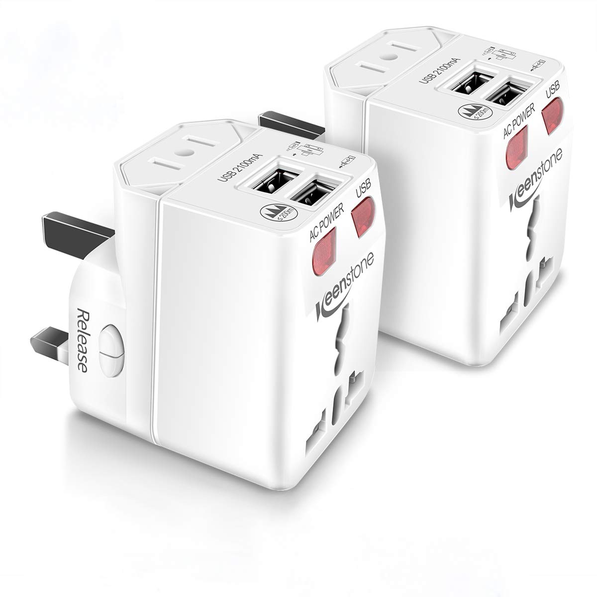 Universal Reiseadapter Weltweit 2 Pack - Keenstone International Stecker-Adapter mit Dual USB Port Sicherheit Universal Ladegerät Einsetzbar für US/UK/EU/AU LED-Betriebsanzeige