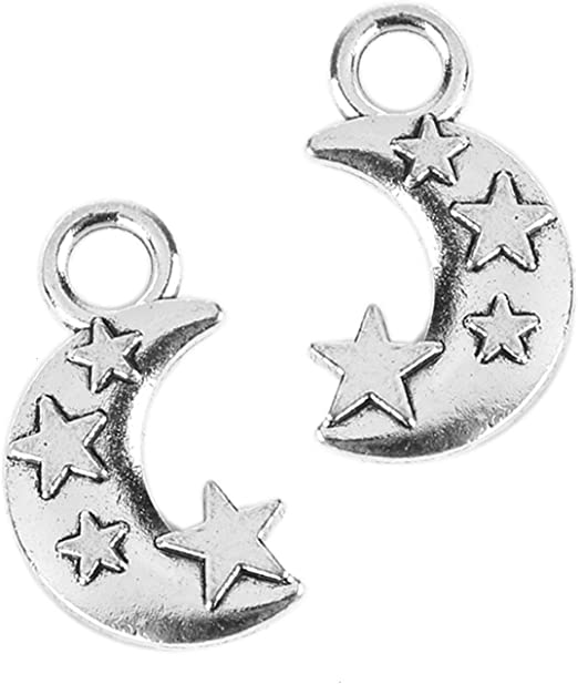 Wholesale 100pcs JUST FOR YOU Star Charms Pendants Jewelry Gift DIY-Silver
