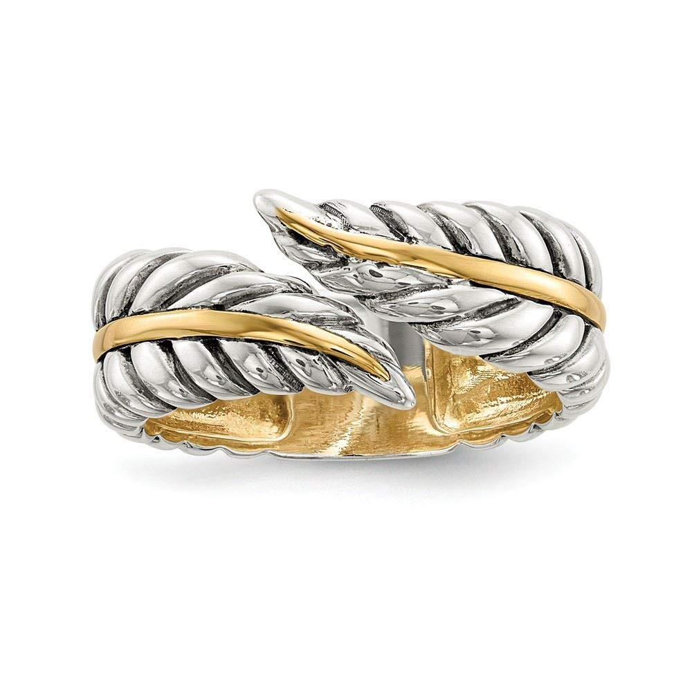 Sterling Silver 7 MM with Gold-Tone Accent Antiqued Leaves Bypass Ring