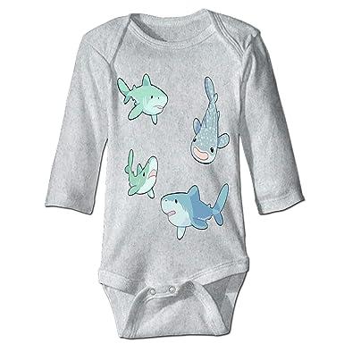 b6ce1876e742 Amazon.com  Baby Shark Custom Baby Cotton Bodysuits One-Piece  Clothing