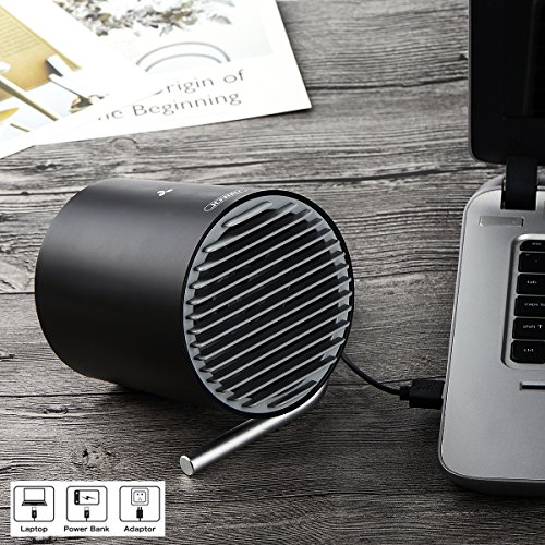 USB Desk Fan, Accering Portable Mini Desktop Small Fan with Touch Control, 5V USB Powered, Personal Table Fans Quiet Cooling for Home, Office, Dorm, Black (4 inch) by Accering (Image #4)